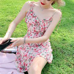 Beauteau - 幼肩带印花A字连衣裙