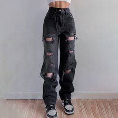Genrovia - High-Waist Distressed Straight-Leg Jeans