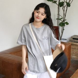CaraMelody - Printed Elbow-Sleeve T-Shirt