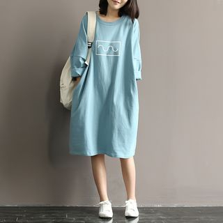 Snow Flower - Drop-Shoulder Cropped-Sleeve Print T-Shirt Dress