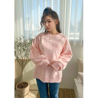 chuu - 'Barbie Diary' Letter Embroidery Sweatshirt