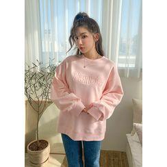 chuu - 'Barbie Diary' Letter Embroidery Sweatshirt