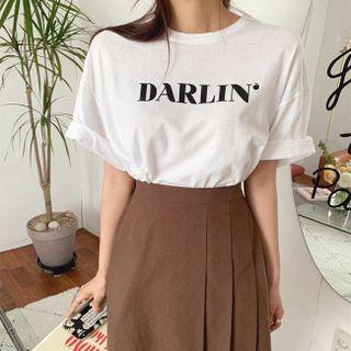 Cherryville - Drop-Shoulder Letter Print T-Shirt