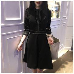 Fashion Street - Contrast Trim Long-Sleeve A-Line Dress