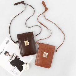 Vintage Kiss - Faux Leather Crossbody Phone Pouch