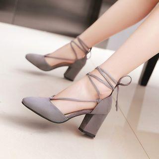 Megan - Chunky-Heel Tie-Ankle Pumps