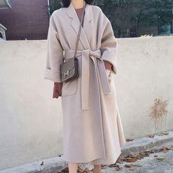 Apotheosis - Reversible Slit-Side Tie-Waist Fleece Coat