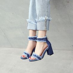 Martha(マーサ) - Block Heel Ankle Strap Denim Sandals