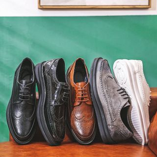 ZIPHO - Lace-Up Platform Brogue Shoes