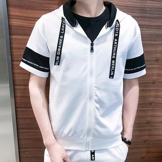 Wescosso - Set: Hooded Short-Sleeve Top + Sweat Shorts
