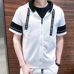 Wescosso(ウェスコッソ)  - Set: Hooded Short-Sleeve Top + Sweat Shorts