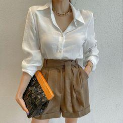 DABAGIRL - Cuff-Hem Dress Shorts with Sash