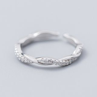 A'ROCH(エーロック) - 925 Sterling Silver Rhinestone Twisted Open Ring