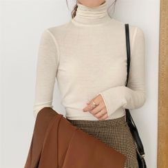 CaraMelody - Turtleneck Long-Sleeve Plain Top