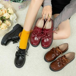 Freesia - Bow Faux Leather Lace Up Shoes