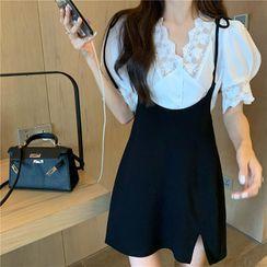 Ginger Girl - Lace Trim Short-Sleeve Blouse / Mini Suspender Skirt