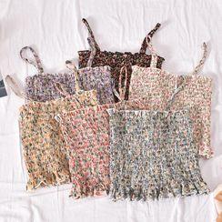 Dudu - Floral Print Smocked Camisole Top