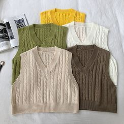 DIYI - Plain V-Neck Cable-Knit Vest