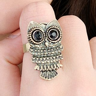 59 Seconds - Rhinestone Owl Ring