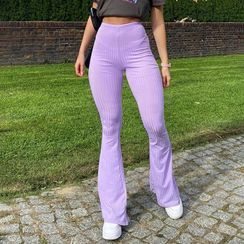 Puffie - Ribbed Wide Leg Pants