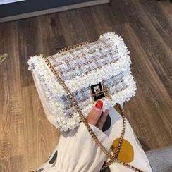 Miloes - Chain Strap Faux Pearl Crossbody Tweed Bag