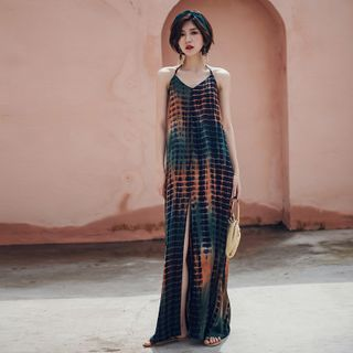 Glaypio - Halter-Neck Printed Maxi A-Line Beach Dress