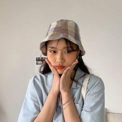 MERONGSHOP - Banded Plaid Bucket Hat
