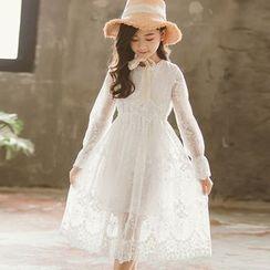 Cuckoo - Kids Long-Sleeve A-line Lace Dress