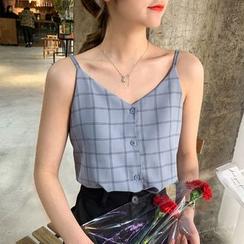 Jalynn - Plaid Button-Up Camisole Top