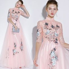 Sennyo - Embroidered Elbow-Sleeve Mandarin Collar A-Line Evening Gown