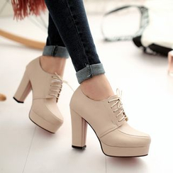 Pretty in Boots - Lace-Up Platform Pumps