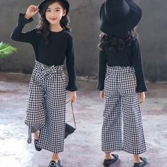 Cuckoo - Girls Set: Long-Sleeve Top + Plaid Cropped Pants