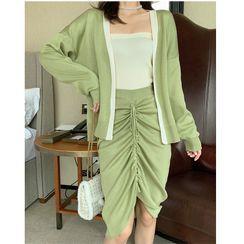 Mongal - 套装: V领开衫 + 抽绳针织裙