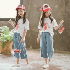 Meroboz - Kids Elbow-Sleeve Printed T-Shirt / Cropped Wide-Leg Jeans / Set