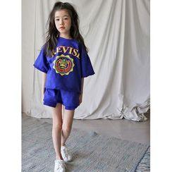 Meroboz - Family Matching Set: Lettering Short-Sleeve T-Shirt + Shorts