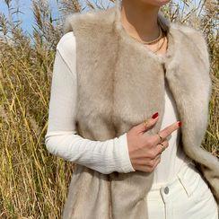 NANING9 - Drawstring Waist Eco-Fur Vest
