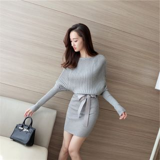 Piela - Bow-Accent Knit Sheath Dress