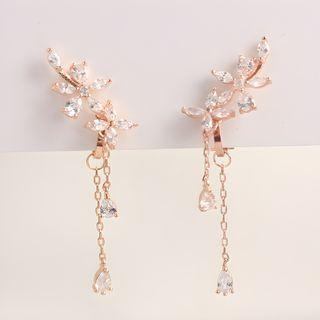 Joodii - Floral Rhinestone Stud / Clip-On Earrings