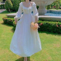 Pandelia - Long-Sleeve Bow-Accent Slim-Fit Dress