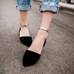 Shoes Galore - Metallic Ankle Strap Flats