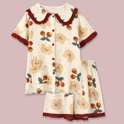 Endormi - Pajama Set: Short-Sleeve Bear Print Top + Shorts