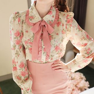MyFiona - Tie-Neck Frilled Floral Blouse