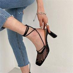 MONOBARBI - Plain / Mesh Block-Heel Tie-Ankle Sandals