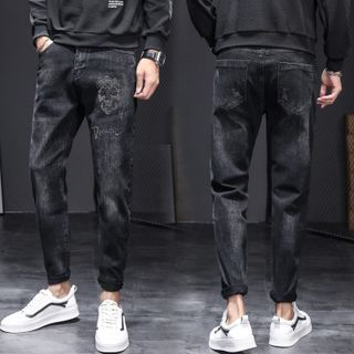 Denimic - 水鑽骷髏頭直筒牛仔褲