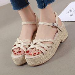 安若 - 多带编织厚底凉鞋
