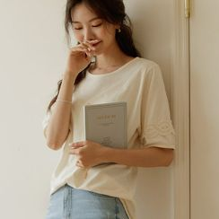 JUSTONE - Lace-Trim Cotton T-Shirt