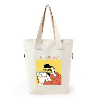 Lozynn - 卡通印花帆布購物袋