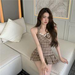 Ginger Girl - Halter-Neck Plaid Camisole Top / A-Line Skirt