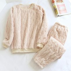 MelMount - 情侣款睡衣套装: 法兰绒卫衣 + 家居裤