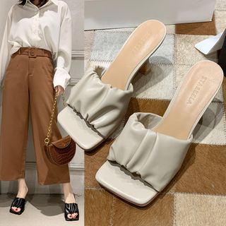 Shoeland - Square-Toe Shirred Chunky Heel Slide Sandals